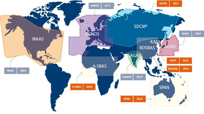 Sơ đồ hệ thống SBAS trên thế giới