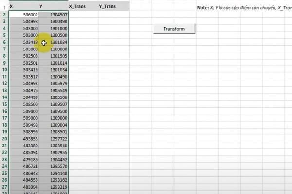 Bước 4: Dán dữ liệu lại vào sheet LIST_COORDINATE